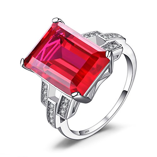 Jewelrypalace Luxury Emerald Cut 9.2ct Created Red Ruby Cocktail Ring 925...