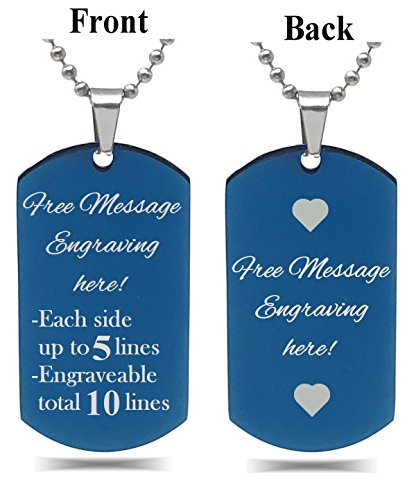 (Interway Trading Personalized Regular Size Custom Message Engraved Stainless Steel Necklace Dog Tag Pendant with 24 inch Chain,Velvet Giftpouch and Keyring (Rectangular Blue))