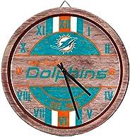 NFL Miami Dolphins Team Logo Wood Barrel Wall ClockTeam Logo Wood Barrel Wall Clock, Team Color, One Size