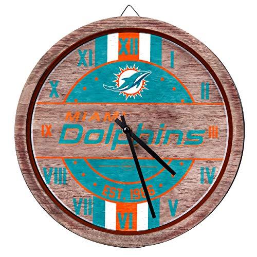FOCO NFL Miami Dolphins Team Logo Wood Barrel Wall ClockTeam Logo Wood Barrel Wall Clock, Team Color, One Size -