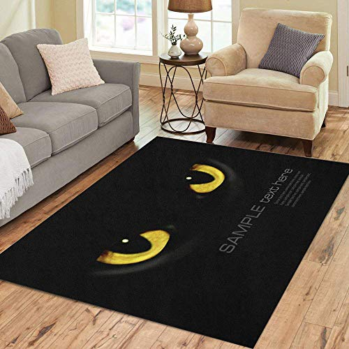 (Semtomn Area Rug 3' X 5' Yellow Panther Cat Eyes in Dark Night Green Black Home Decor Collection Floor Rugs Carpet for Living Room Bedroom Dining)
