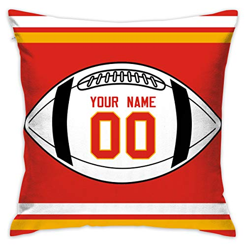 AEIUWjeIET Throw Pillow Covers Home Kansas City Chiefs Pillows Cases Couch Covers Decoration 18 X 18 Inch for Home Sofa Bedding