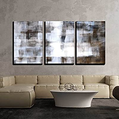 3 Piece Canvas Wall Art - Brown and White Abstract Art Painting - Modern Home Art Stretched and Framed Ready to Hang - 16