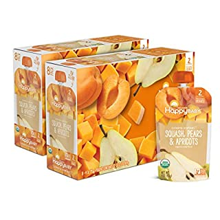 Happy Family Baby Organics Clearly Crafted Stage 2, Squash, Pears & Apricots, 4 Oz Pouch, 16Count