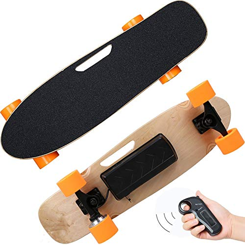 Electric Skateboard, 250W Hub-Motor Wireless Remote Controlled E-Skateboard, Portable Cruiser Skate Board, 15km/h Top Speed,14m Range Remote Control for Riders, Kids and Adults ()