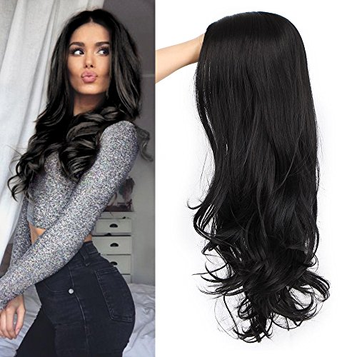 (ForQueens Black Wavy Wigs for Women Long Curly Wig Synthetic Party Wigs Middle Part Full Wigs Natural)