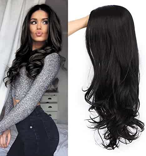 AISI QUEENS Black Wavy Wigs for Women Long Curly Wig Synthetic Party Wigs Middle Part Full Wigs Natural Looking