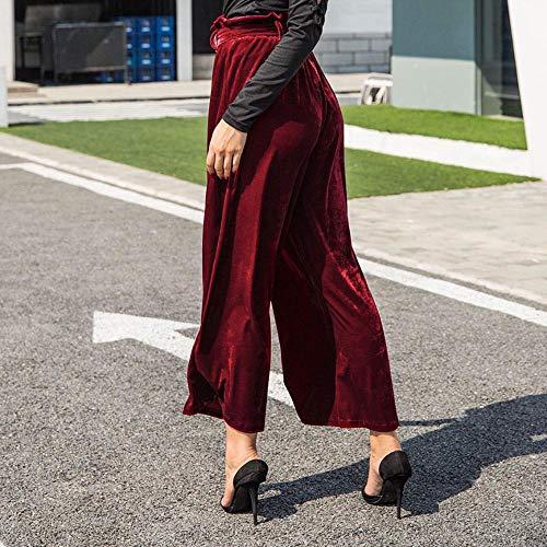 Donna S Con Cintura Dritta Velluto xl Pantalone Dragon868 Donna Palazzo Fascia Rosso zAWtSnwOq