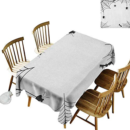 DONEECKL Spider Web Oil-Proof Tablecloth Seamless Design Spiders Bats and Little Stars Monochrome Cobwebby Design Spooky Horror Elements Black White W60 xL84