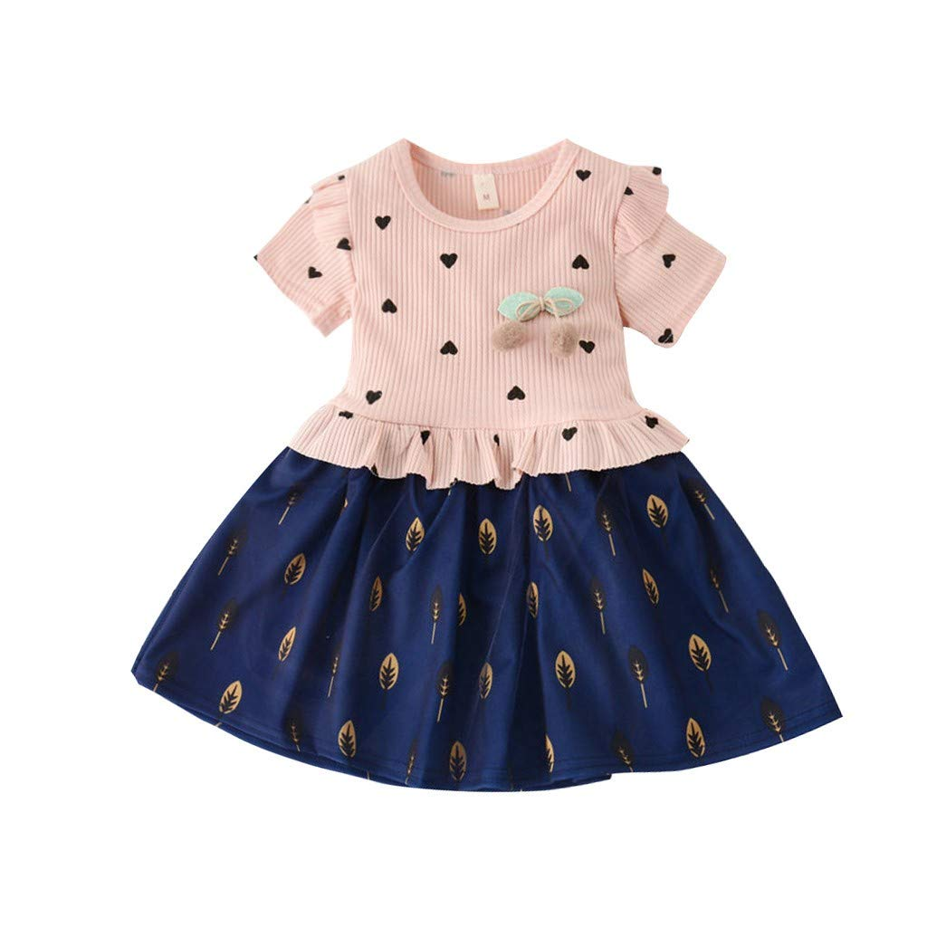 4 Years wuayi  Girls Dresses Baby Girl Short Sleeve Ruffles Ruched Love Cherry Tulle Patchwork Princess Dresses Dress Clothes Outfits 6 Months