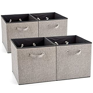 EZOWare 4 Pack Fabric Foldable Cubes Bin Organizer Container With Handles  For Nursery, Closet,