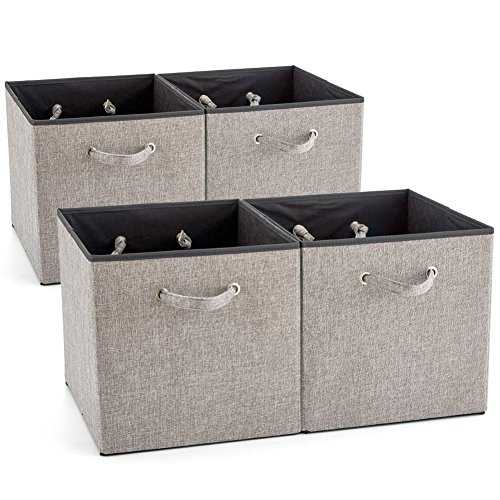 EZOWare 4 Pack Fabric Foldable Cubes Bin Organizer Container with Handles (13 x 15 x 13 inch) for Drawer, Nursery, Closet, Office, Home - Gray by EZOWare