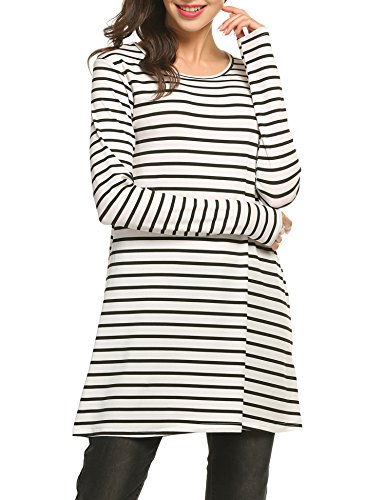 black Style Striped Casual O Short Line Neck amp;white A Women Flared Summer ACEVOG 2 Sleeve Dress wTq6n