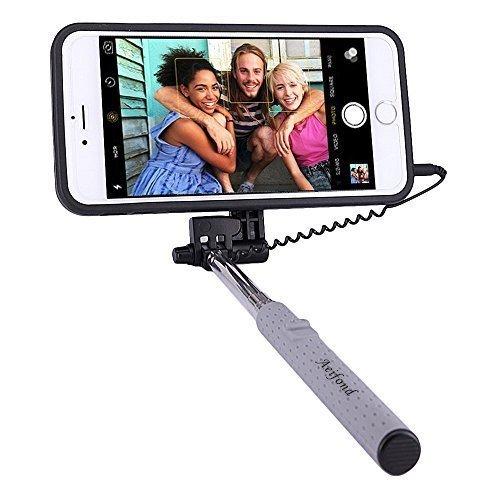 PROG-X iPhone 6S Plus Selfie Stick, Portable Extendable Monopod Wired Selfie Stick Case Cover for Apple iPhone 6 Plus / iPhone 6S Plus (Black)