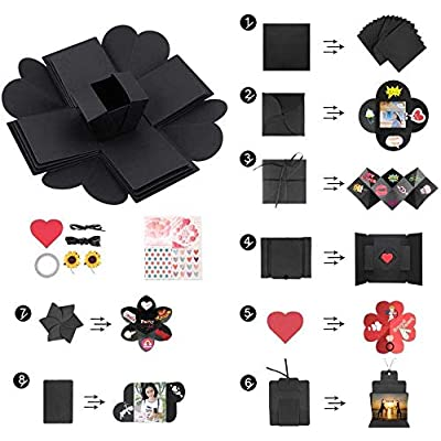 Artycol Surprise Explosion Box, DIY - Love Memory, Scrapbook, Photo Album Box for Wedding Proposal, Birthday, Anniversary, Mother's Day (Black): Toys & Games