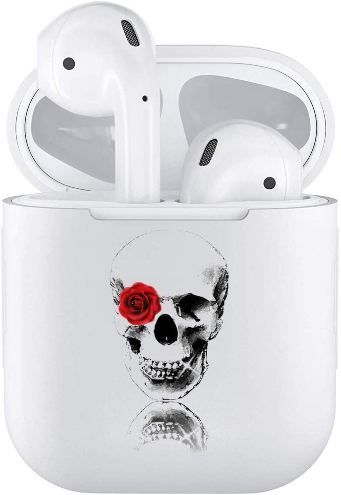 Silicone TPU Cute Accessories Holder Case Cover Skin with Keychain Compatible with Airpods Air Pods 1 2 Skull