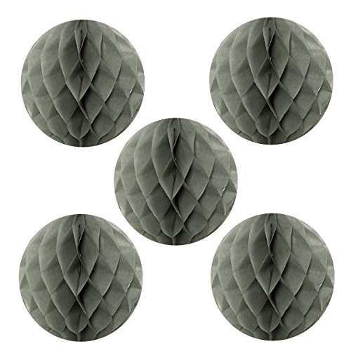 Wrapables A69068c Tissue Honeycomb Ball Party Decorations for Weddings, Birthday Parties, Baby Showers and Nursery Decor (Set of 5), 6, Gray