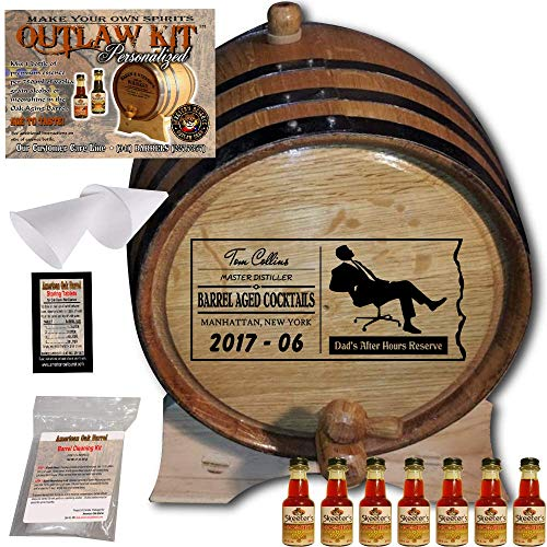 Honey Scotch (Personalized Whiskey Making Kit (078) - Create Your Own Honey Scotch Whiskey - The Outlaw Kit from Skeeter's Reserve Outlaw Gear - MADE BY American Oak Barrel - (Oak, Black Hoops, 5 Liter))