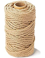 164 Feet 5mm Jute Twine, 4 Ply Natural Jute Rope, Biodegradable Heavy Duty Twine for DIY Artwork, Christmas Twine, Gardening, Cat Scratching Post, Crafting, Packing, Bundling and Home Decor