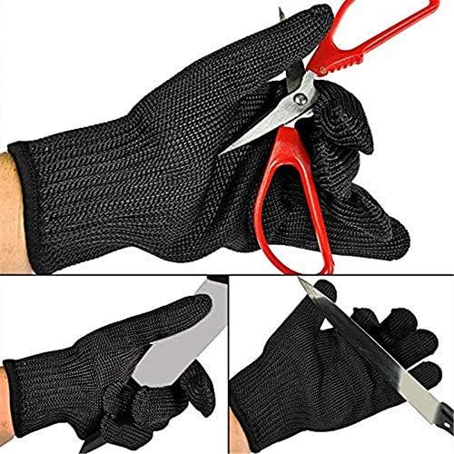 AMAZACER ナイフ証明カット性手袋、アンチ手の保護カット、10pair用ステンレス鋼線メッシュ、高性能レベル5の保護、安全作業を、切削 (Size : 10pair)
