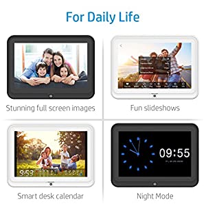 Digital Picture Frame, HP 10.1 inch WiFi Photo Frame, 1280x800 HD Display, 8GB Internal Storage, iPhone & Android App, Support Photo, Music, Calendar with Built-in Speakers - White