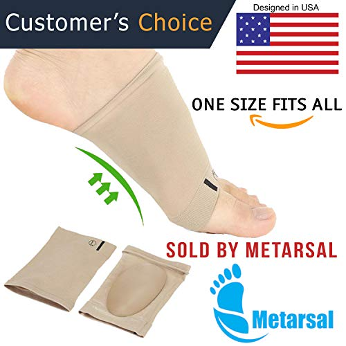 Metarsal Compression Arch Support Sleeves Sock with Comfort Gel Pad Cushions for Women & Men - Arch Brace for Flat Feet, Plantar Fasciitis Sleeves Shoe Insert Insole, Helps Foot Pain Relief, Set of 2 by Metarsal