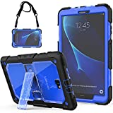 SEYMAC Galaxy Tab A6 10.1 Case Full Body Rugged Shock Drop Protective Case with Stand/Strap for Tab A 10.1 2016 Tablet (SM-T580/SM-T585/SM-T587, No S Pen Version)[Black/Blue] Boys/Girls/Kids/Schools