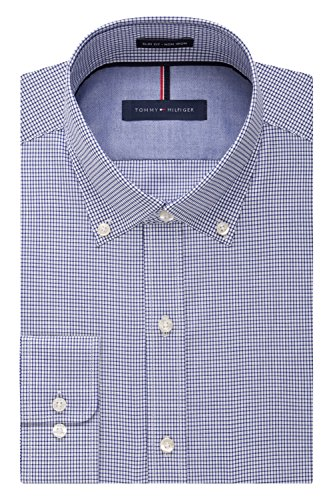Tommy Hilfiger Men's Non Iron Slim Fit Check Button Down Collar Dress Shirt, Ocean, 16.5