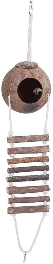 TOPINCN Concha de Coco Nido de Ave Cría Natural Nido para Mascotas Casa de escondite de Loros con Escalera de Cuerda para Aves y pequeños Animales de Juguete 2 tamaños(# 2)