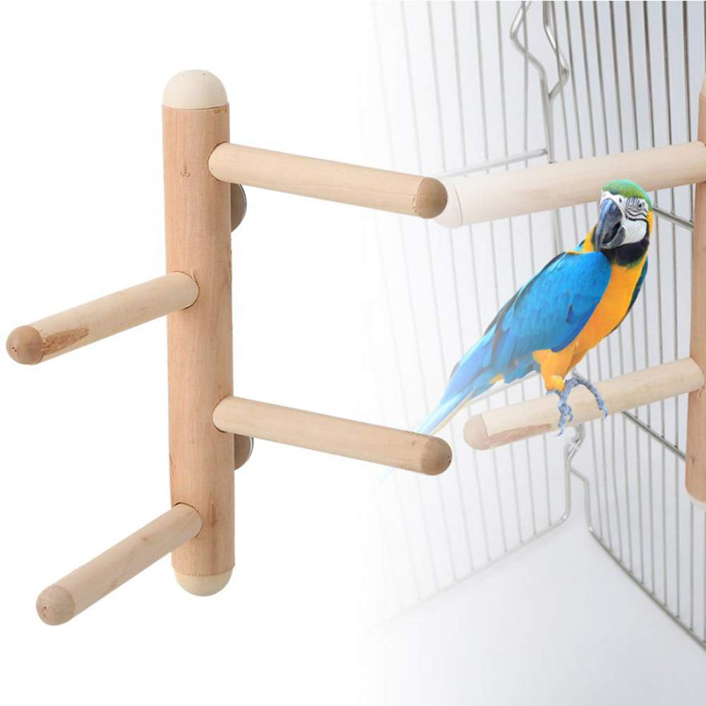 Cockatoo Birdcage Stand Parrot Climbing Standing Toy 4 Layer Ladder Wood Branch Side Play Rest Platform for Small and Medium Parakeet Cockatiels kathson Bird Perches Canaries