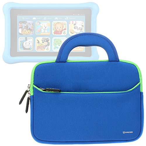 Evecase 2017 New Fire Kids Edition Tablet Sleeve, Ultra Portable Handle Carrying Portfolio Neoprene Case Bag for Amazon New Fire 7 Kids Edition / New Fire HD 8 Kids Edition Tablet - Blue 7' Universal Tablet