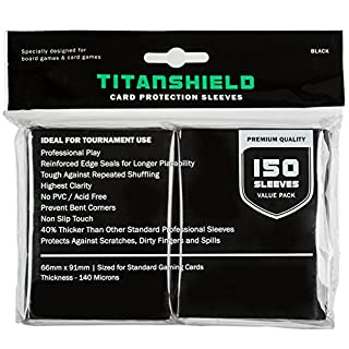 TitanShield (150 Sleeves / Black Standard Size Board Game Trading Card Sleeves Deck Protector for Magic The Gathering MTG, Pokemon, Baseball Collection, Dropmix