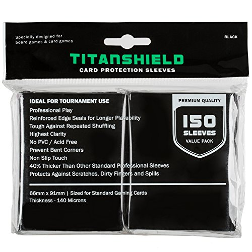 - TitanShield Standard Size Trading Card Sleeves Deck Protector for Magic The Gathering MTG, Pokemon, Baseball, Dropmix (150 sleeves/Black)
