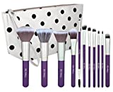 BS-MALL(TM) Premium Synthetic Concealer Powder Foundation Angled Eyeshadow Duo Fibre Blush Blending 11 PCS Makeup Brushes Set(Silver Purple)