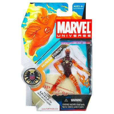 Hasbro Marvel Universe 3 3/4 Series 1 Action Figure Human Torch in Flames