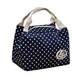 KANGMOON Reusable Lunch Bags for women Insulated Cold Canvas Stripe Picnic Carry Case Thermal Portable Lunch Bag (Navy)