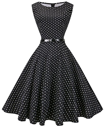 Fedie Women Boatneck Sleeveless Vintage Tea Cocktail Dress with Belt, Small, Small Dot -