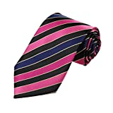 DAA7A25C Black Hot Pink Blue Stripes Microfiber Tie Waistcoat For Boyfriend Neckwear By Dan Smith