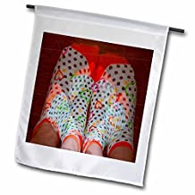 Jos Fauxtographee Conceptual - An Triple Exposure of Three Sets of Feet in Bright, Colorful, Patterned Socks with Hearts and Dots - 18 x 27 inch Garden Flag (fl_50513_2)