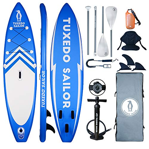 "TS Inflatable 11'×32""×6"" SUP with Kayak Conversion Kits Everything Included with Stand Up Paddle Board, Adj 2 in 1 Paddle, Kayak seat,Double Action Pump, ISUP Backpack, Leash,Waterproof Bag"