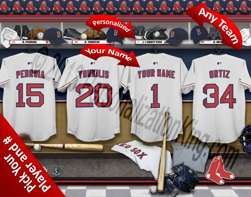 Boston Red Sox Team Locker Room Clubhouse Personlized Officially Licensed MLB Photo Print PersonalizationKing.com