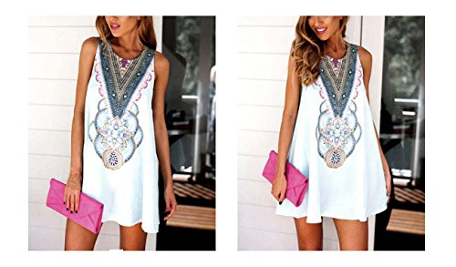 Sleeveless Fit Summer Floral Casual White Patterns Loose Women Blouse Dress ARJOSA s xXUq8ISw