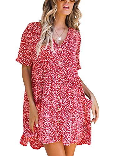 (Women's Mini Dress V Neck Floral Printed Short Sleeve Hawaiian Button Down Swing Shift Dress Red S )