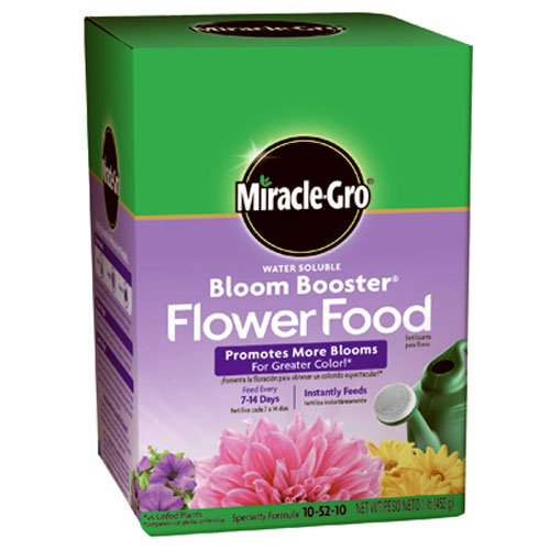 Miracle-Gro 1360011 Water Soluble Bloom Booster Flower Food, 10-52-10, (Miracle Gro Water Soluble Lawn Food)