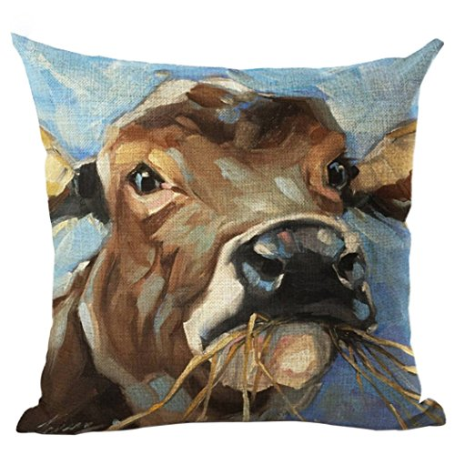 potato001 Tiger Animal Oil Painting Style Cushion Cover Decorative Linen Throw Pillow Case (4#)