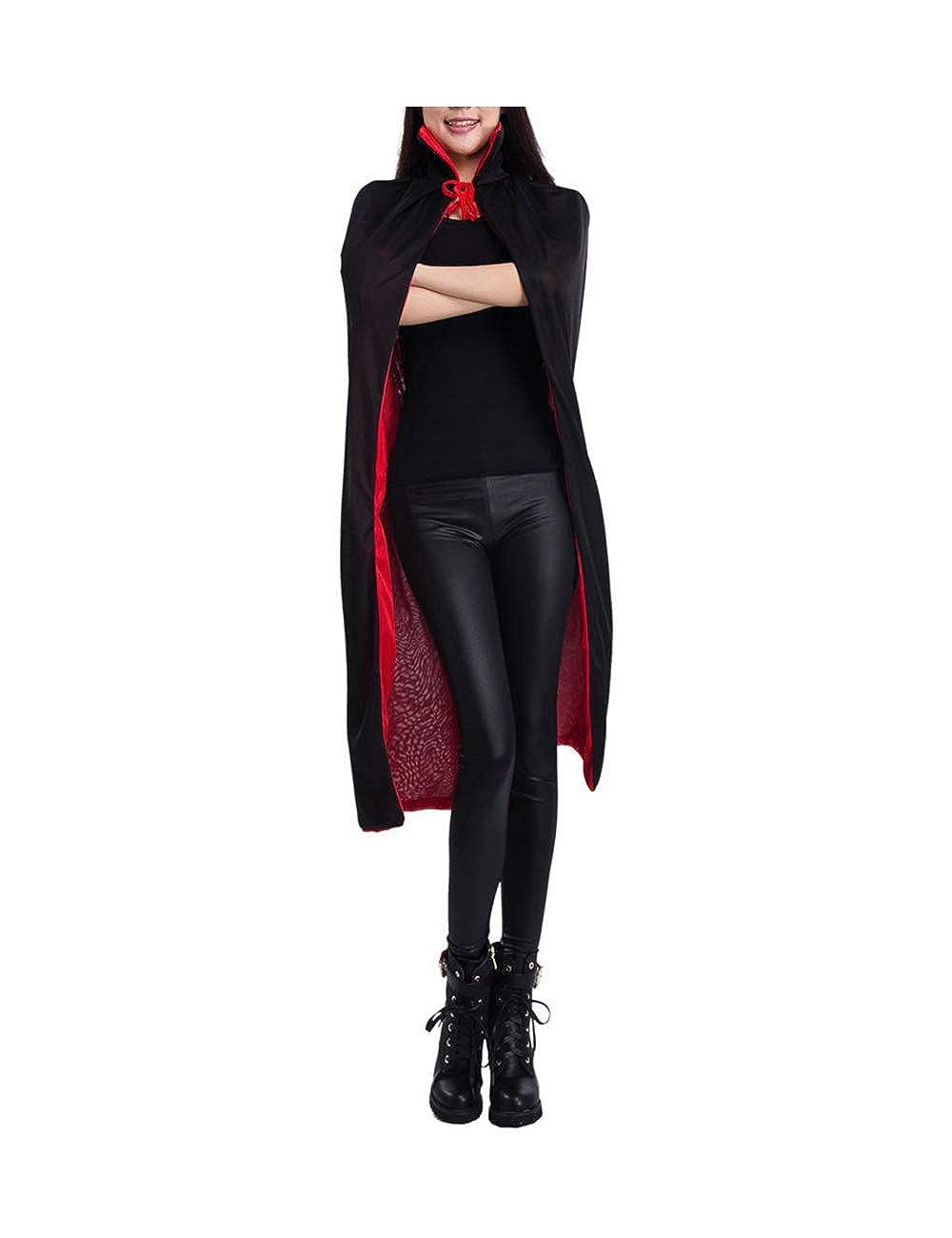 Zhhlaixing Doble Cara Capa Negro Rojo - Linda Disfraz de Halloween Caballero para Adulto Niños