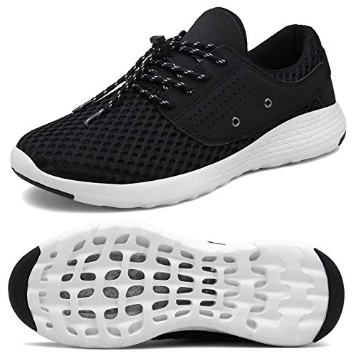 UBFEN Womens Water Shoes for Barefoot Shower Swimming Diving Surfing Upstream Yoga Running Walking Fashion Sneakers Boating Fishing Aqua Shoes 8.5 B / 7 D Black White (Good Shoes For Running And Working Out)