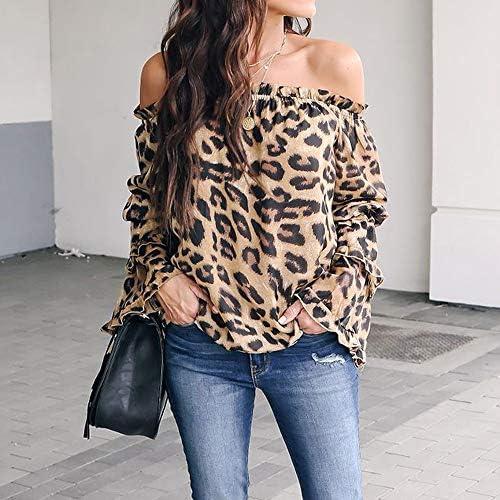 Rameng Chemise Femme Leopard Chemise Epaules D/énud/ées Femme Manche Longue T-Shirt Tops Haut Blouse