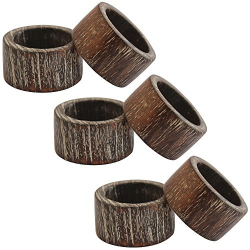 Indian Glance Wooden Napkin Rings Set of 6 - Napkin Ring for Wedding | Crafts | Dinning Tables | Parties | Everyday Decor NR7 ()