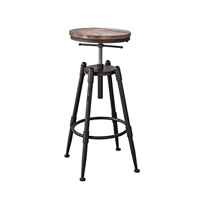 ALUS  Simple, Wrought Iron, Wooden Seat Cushion Bar Creative High Chair  European Chair